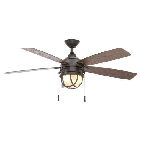 porch ceiling fans with lights hton bay seaport 52 in indoor outdoor natural iron