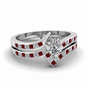 5 stone pear shaped diamond band in 14k rose gold With ruby and diamond wedding ring