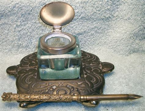 Brass And Glass Inkwell And Pen