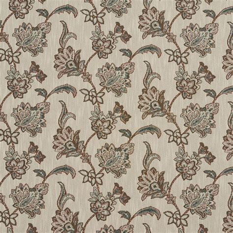 Teal And Brown Upholstery Fabric by A190 Teal And Brown Floral Jacqaurd Upholstery Fabric
