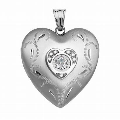 Locket Heart Silver Diamond Dancing Sterling Side