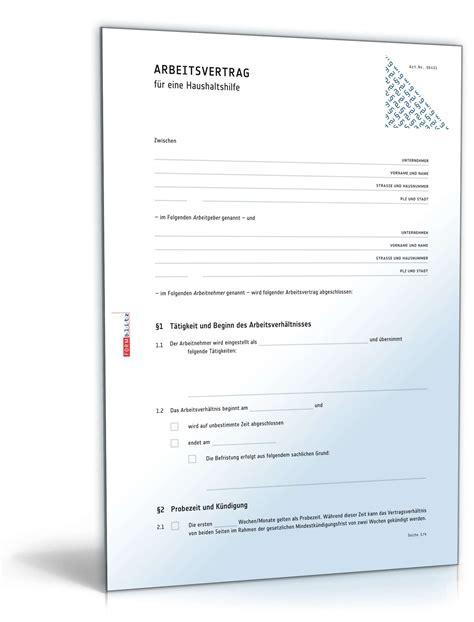 arbeitsvertrag haushaltshilfe muster zum