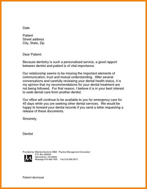 dental patient dismissal letter template examples letter