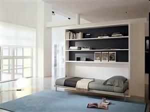 Furniture Modern Twin Size Wood Horizontal Murphy Bed