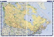 Large detailed highways map of Canada with time zones ...