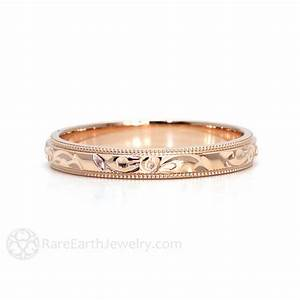 Engraved wedding band vintage wedding ring 3mm floral flower for Engravings on wedding rings
