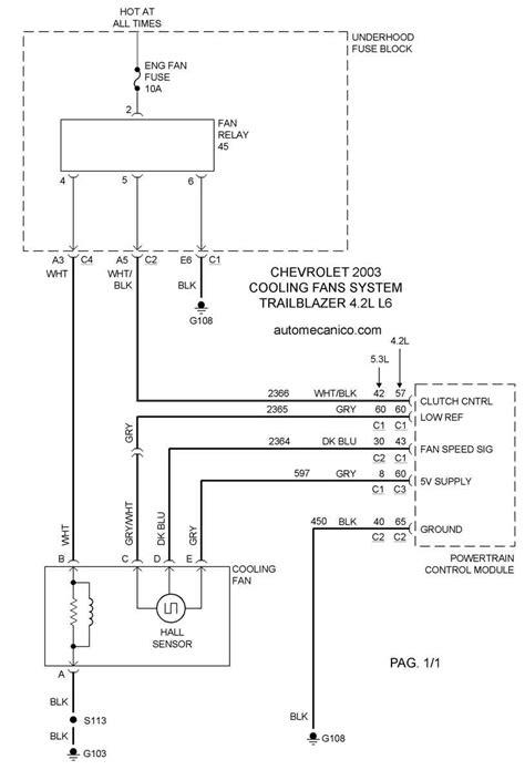 chevrolet cooling fans system diagramas ventiladores abanicos motores 2003 mecanica