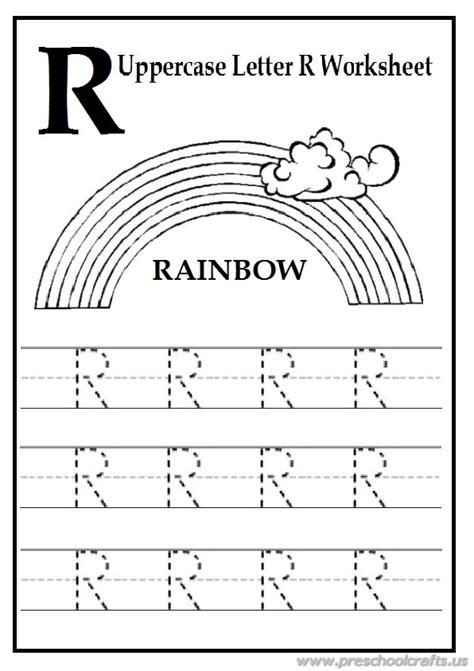 Trace The Uppercase Letter R Worksheet Free Printables  Preschool Crafts