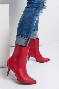 Ec Conversion Chart Faux Leather Kitten Heel Pointed Toe Pu Booties In Red