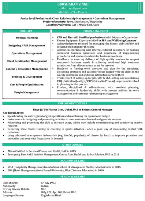 impressive resume format freshers experienced cv sle