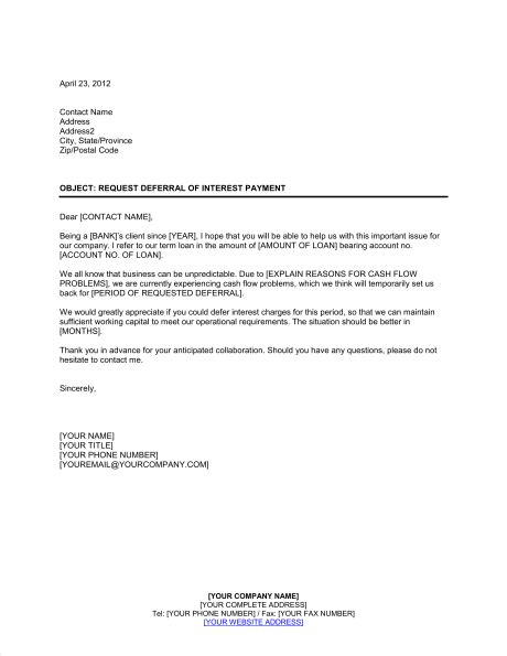 3rd letter late payment template to customer request deferral of interest payment template word pdf