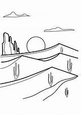 Desert Coloring Pages Sunrise Cactus Printable Adult Animal Mandala Animals Fox sketch template