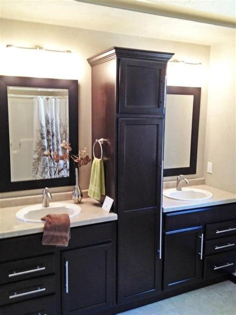 Bathroom sink split by beautiful linen closet   My Home