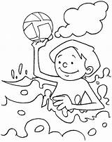 Coloring Pages Water Beach Summer Playing Park Printable Sea Drawing Print Clipart Conservation Clip Lake Play Holiday Books Slide Fountain sketch template