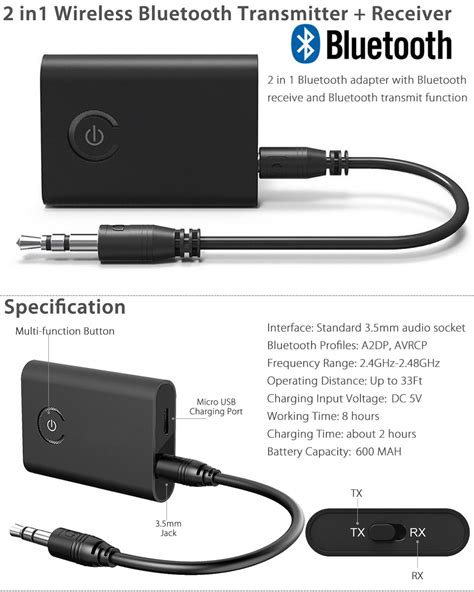 bluetooth audio transmitter wireless bluetooth transmitter receiver taotronics stereo audio adapter ebay
