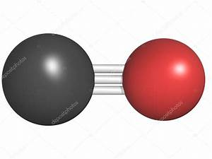 Carbon monoxide (CO) toxic gas molecule, chemical ...