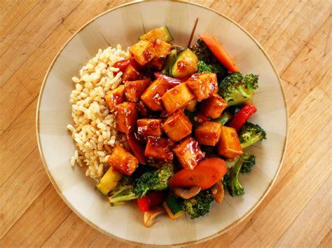 tofu stir fry teriyaki peanut tofu with stir fried veggies brown rice 187 i love vegan
