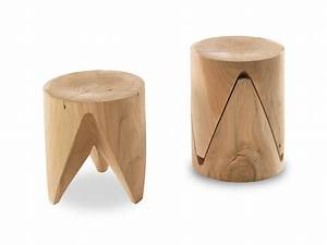 Low Stackable Solid Wood Stool JI ZIG ZAG By Riva 1920