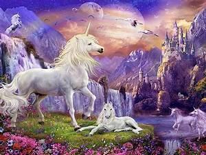 wallpaper hd unicorns castles waterfalls