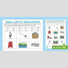 * New * Magic E With 'ae' Read And Write Worksheet  Split Digraph, Phonics