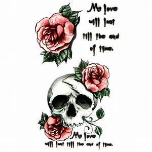 Dessin Tete De Mort Avec Rose : tatouage temporaire old school t te de mort ~ Melissatoandfro.com Idées de Décoration