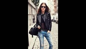 Black leather jacket and blue jeans style 2017 - YouTube
