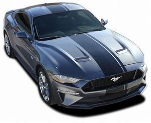 EURO XL RALLY : Ford Mustang Racing Stripes Center Wide Offset Racing Decals Vinyl Graphics Kit ...