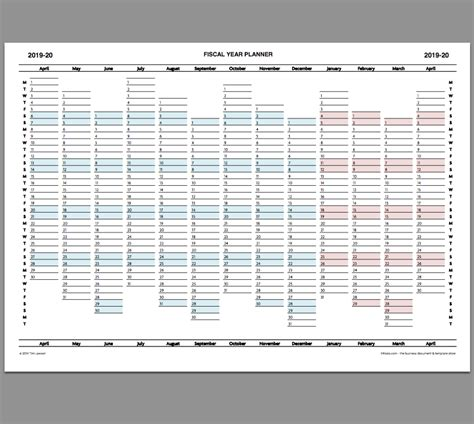 fiscal year planner calendar printable infozio