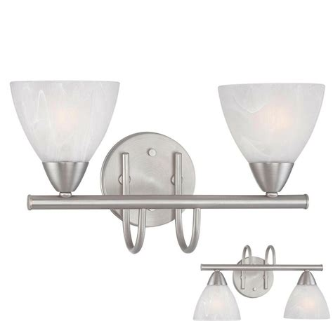 Brushed Nickel Bathroom Light Fixtures by Brushed Nickel 2 Light Bathroom Vanity Wall Lighting Bath