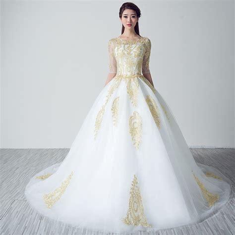 white wedding dresses  gold lace applique uniqisticcom