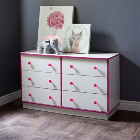 south shore logik 6 drawer double dresser white and pink