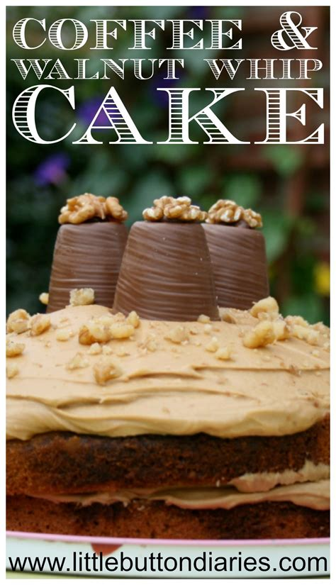 Cream the butter and sugar until light and fluffy. Coffee & Walnut Whip Cake - Little Button Diaries
