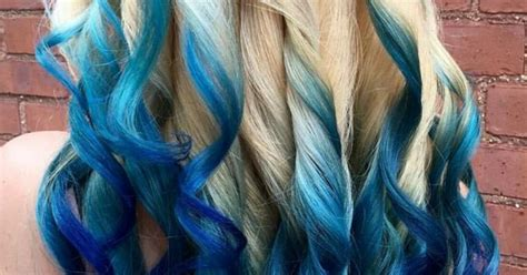 Blonde Royal Blue Ombre Dyed Hair Color
