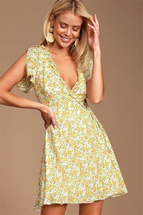 Audacious Audrey Yellow Floral Print Wrap Dress | Printed ...
