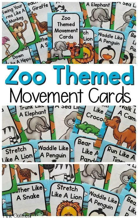 zoo movement cards  printables  images zoo