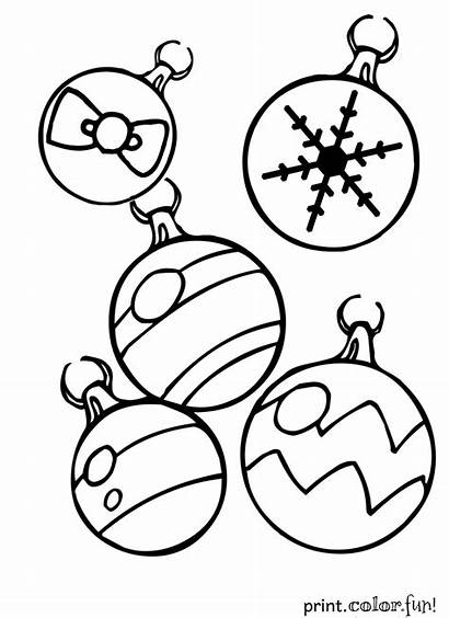 Christmas Coloring Pages Ornaments Decorations Ornament Printables