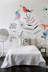 Papier Peint Papillon Oiseau : deco chambre fille papier peint fleurs et oiseaux le ~ Zukunftsfamilie.com Idées de Décoration