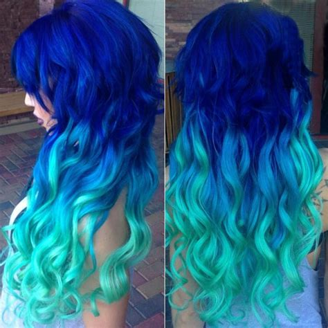 Colors That Go With Hair by Mermaid Blue Ombre Hair Color To Green Amazing Blue