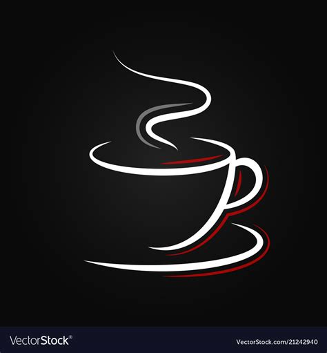 Coffee cup logo mockup psd. Coffee cup logo on black background Royalty Free Vector