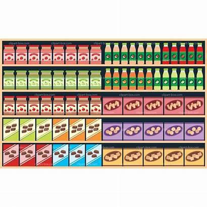 Shelves Supermarket Clipart Shelf Grocery Vector Cliparts