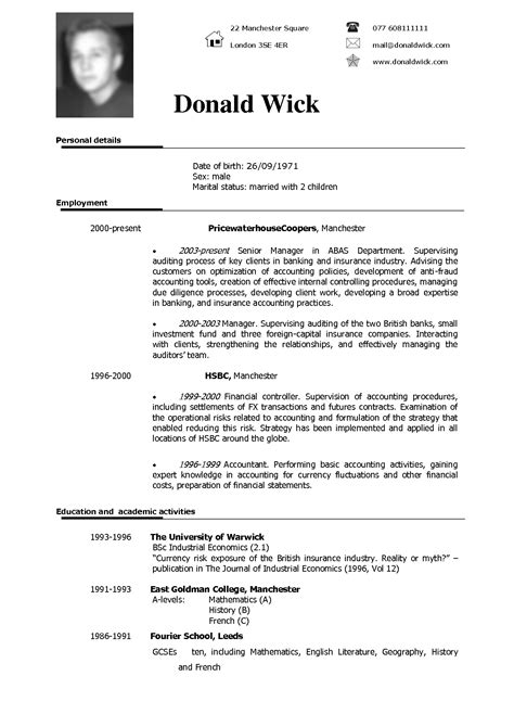 Resume examples for different career niches, experience levels and industries. CV Sample | Fotolip.com Rich image and wallpaper