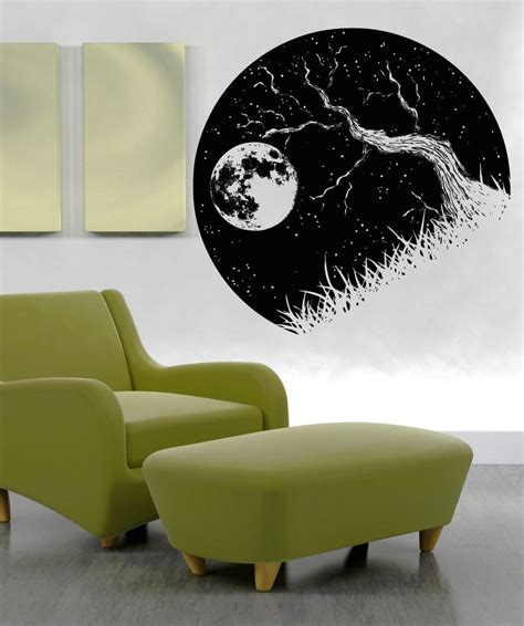 vinyl wall decal sticker tree branch and moon os aa1562