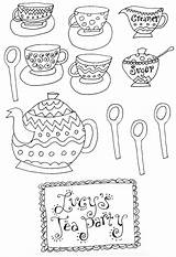 Coloring Tea Party Pages Adult Printable Sheets Teapot Patterns Coffee Afternoon Cups Alice Embroidery Princess Clipart Library Parties Printables Birthday sketch template