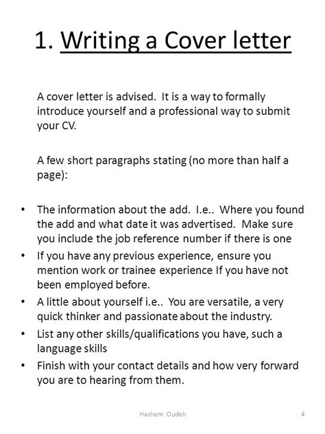 Introduce Yourself Curriculum Vitae by Writing A Curriculum Vitae Cv Hashem Oudeh Ppt