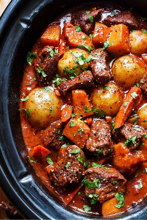 beef slow cooker recipes stew recipe potatoes carrot eatwell101 butternut crockpot vegetable meat cooking meals bourguignon directions delicious diced
