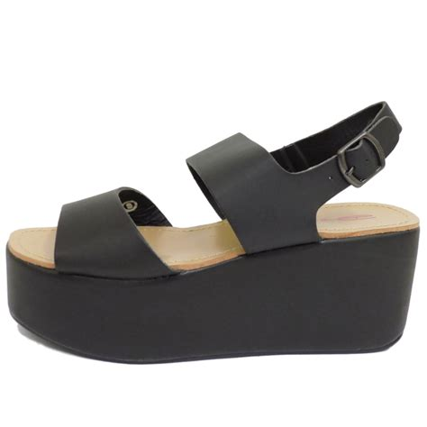 Gosh Flat With High Wedges dolcis black flat form platform chunky sandals