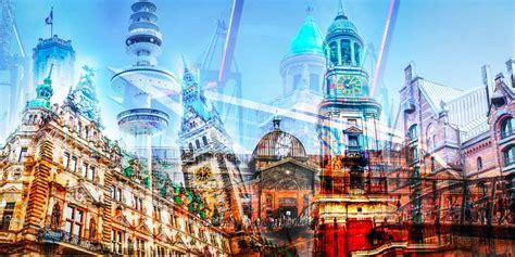 Kunstbilder Hamburg  Moderne Collage Im Popart Stadt Design