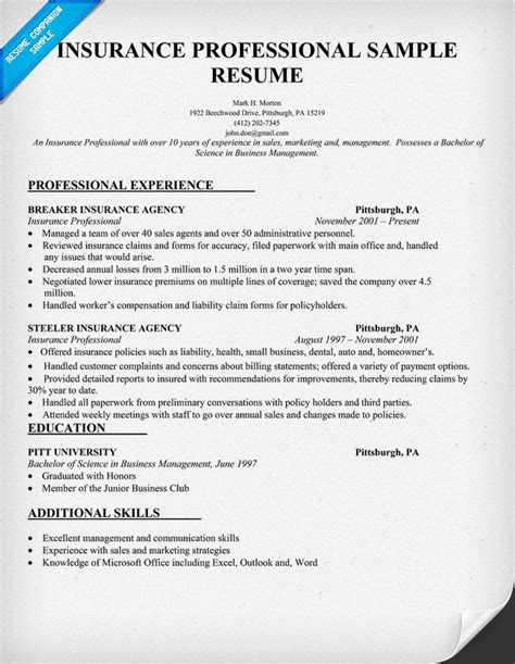 Insurance Agency Manager Resume by Insurance Professional Resume Sle Insurance