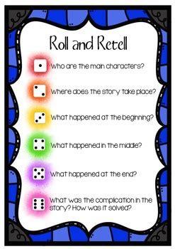 freebie comprehension roll  retell  kinder delights tpt