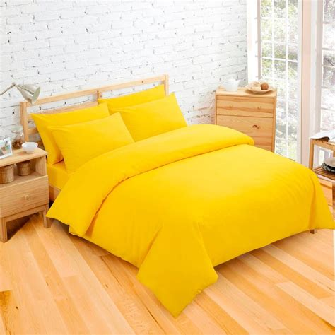 plain dyed bright yellow colour bedding duvet quilt cover